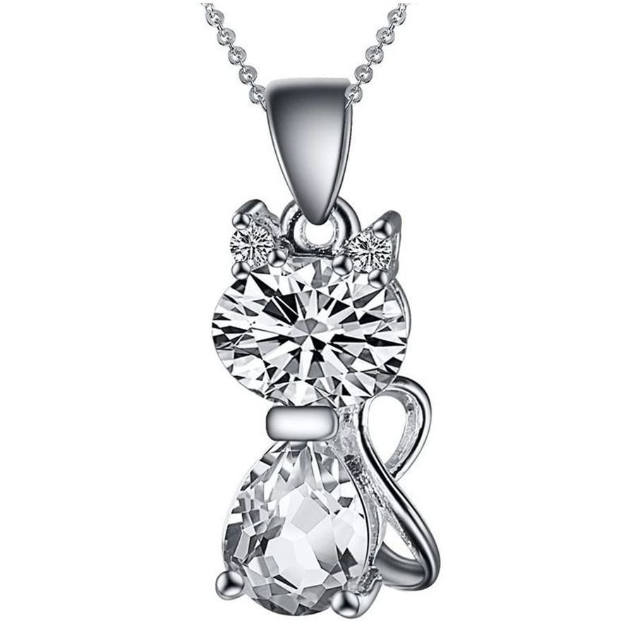 Necklace - 925 Sterling Silver Pendant Stone Crystal Cute Cat Pendant Necklace