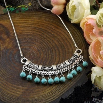 Necklace - Bohemia Style Tibetan Silver Turquoise Necklace