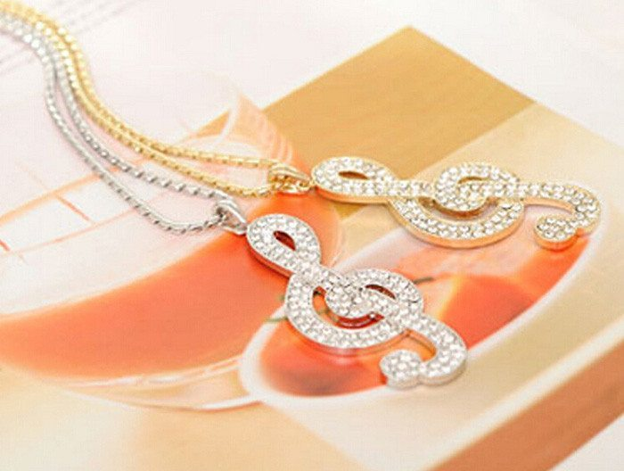 Chic Rhinestone Rhythm Pendant Necklace