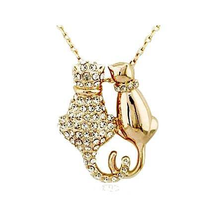 Necklace - Crystal Couple Cats Pendant Necklace