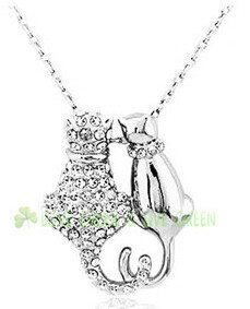 Crystal Couple Cats Pendant Necklace