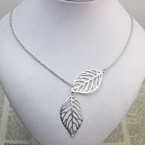 Necklace - Double Leaf Pendant Necklaces