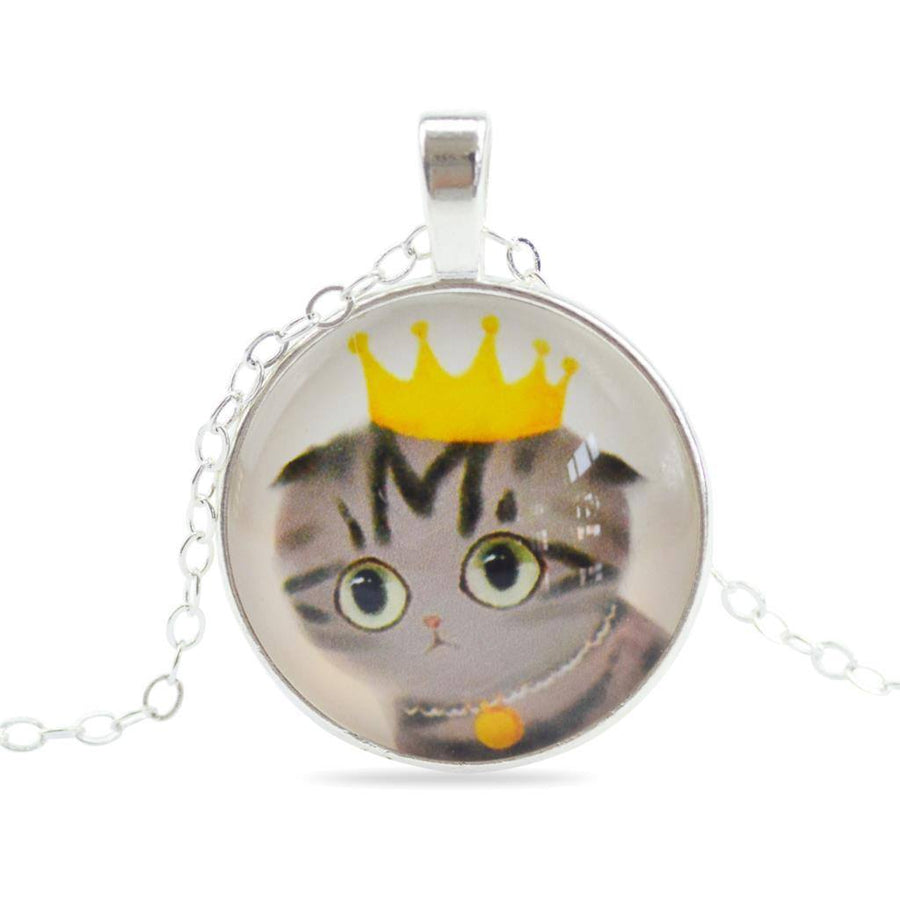 Handmade Sweet Cat Glass Pendant Necklace