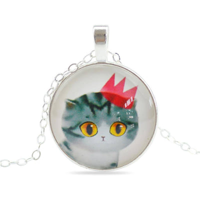 Necklace - Handmade Sweet Cat Glass Pendant Necklace