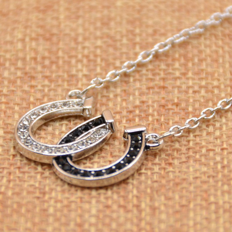 Lucky Rhinestone Double Horseshoe Pendant Necklace