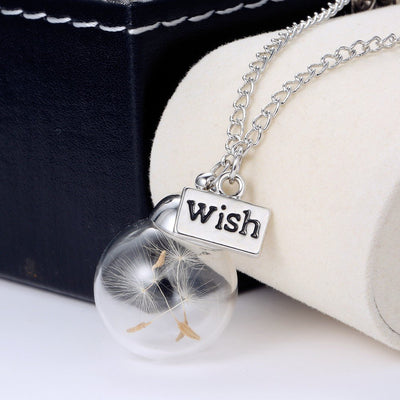 Necklace - Make A Wish Dandelion Glass Pendant Necklace
