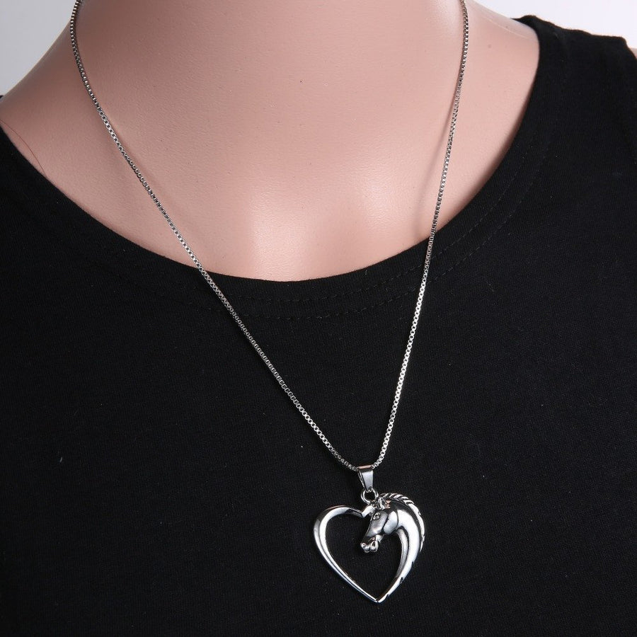 Plated White Horse in Heart Pendant Necklace