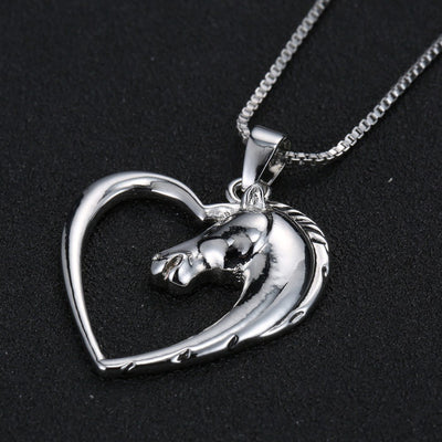 Necklace - Plated White Horse In Heart Pendant Necklace