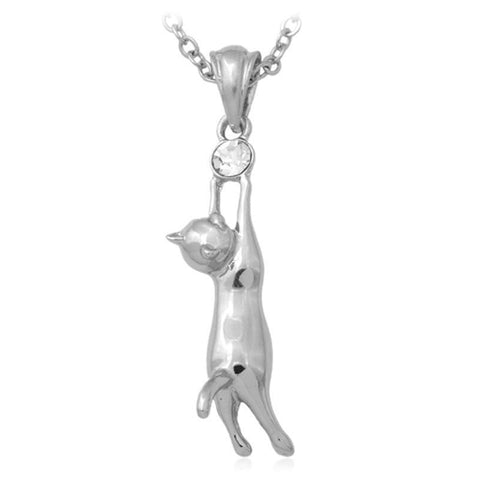 Necklace - Real Gold Plated Rhinestone Cat Pendant Necklace