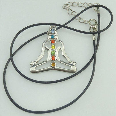 Necklace - Silver Chakra Pendant With Yoga Meditation Crystals