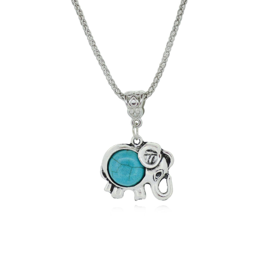 Silver Metal Turquoise Elephant Necklace