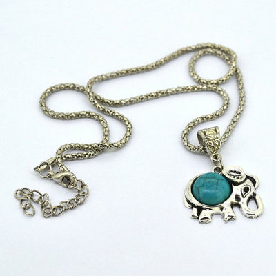 Necklace - Silver Metal Turquoise Elephant Necklace