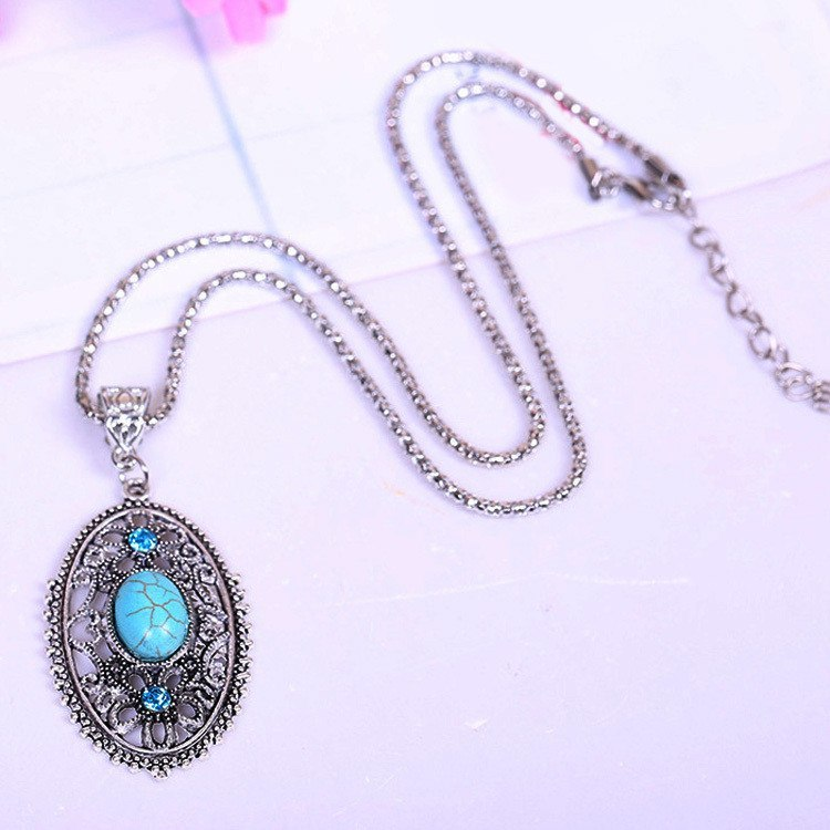 Tibetan Hollow Turquoise Pendant Necklace