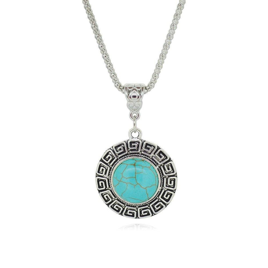 Tibetan Silver Turquoise Pendant Necklace