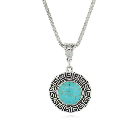 Necklace - Tibetan Silver Turquoise Pendant Necklace
