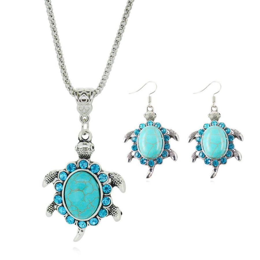 Turquoise Chain Necklace & Matching Silver Water Drop Shaped Earrings