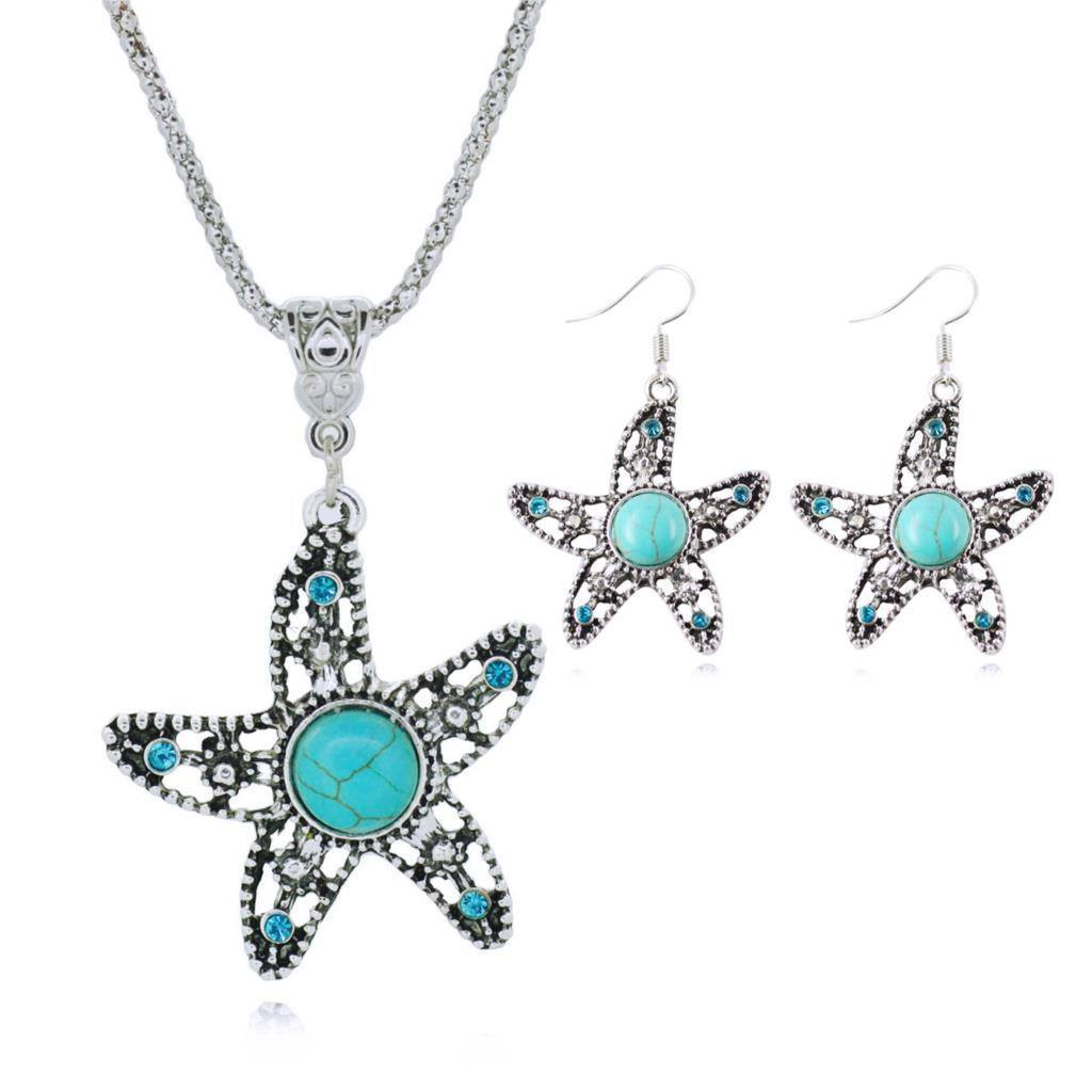 Necklace - Turquoise Chain Necklace & Matching Silver Water Drop Shaped Earrings