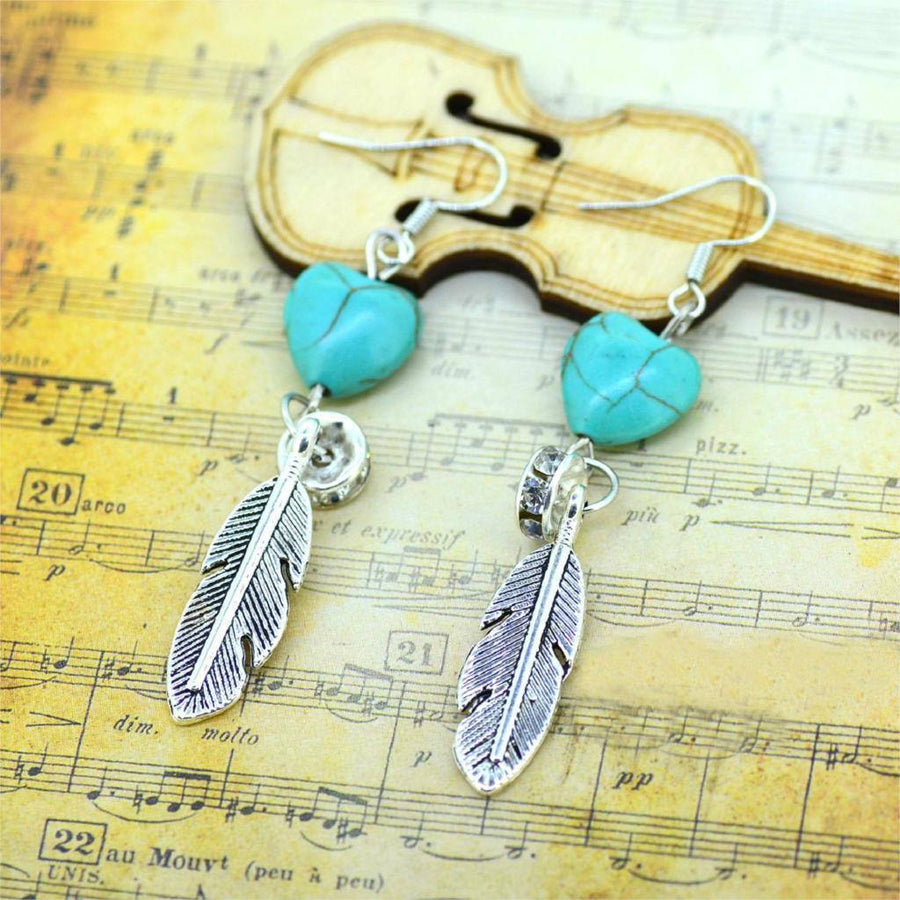 Turquoise Long Drop Earring With Tibetan Silver Metal Feather