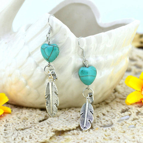 Necklace - Turquoise Long Drop Earring With Tibetan Silver Metal Feather