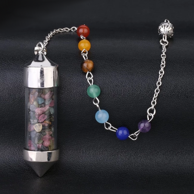 Crystal Bottle And Natural Stone Dazzling Pendant Necklace