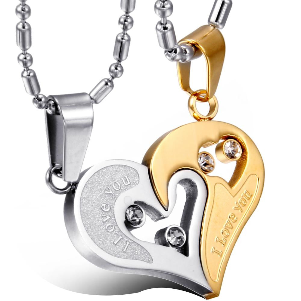 Stainless Steel Matching Hearts Couple Necklace (1 pair)