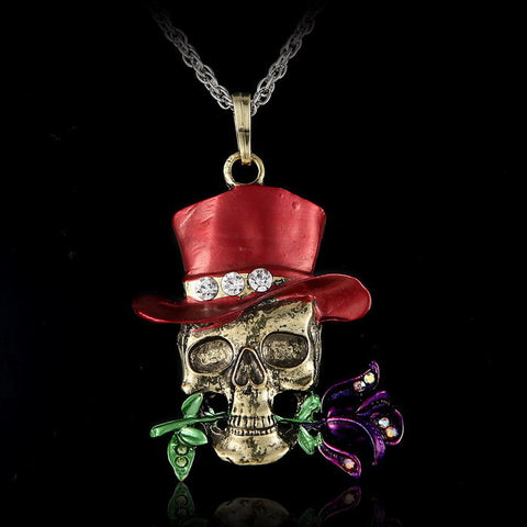 Skull Rose Crystal Pendant Necklace