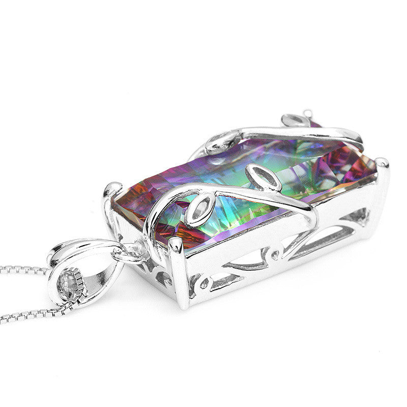 Rainbow Mystic Topaz Pendant (Solid 925 Sterling Silver)
