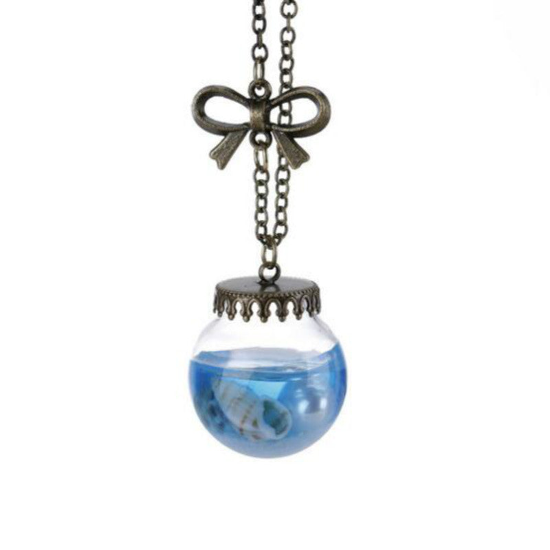 Ocean Wind Drift Glass Bottle Pendant Necklace