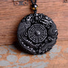 Black Obsidian Carved Dragon and Phoenix Necklace