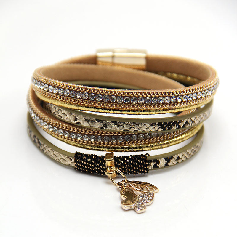 Multilayer Rhinestone Butterfly and Leaves Pendant Leather Bracelet