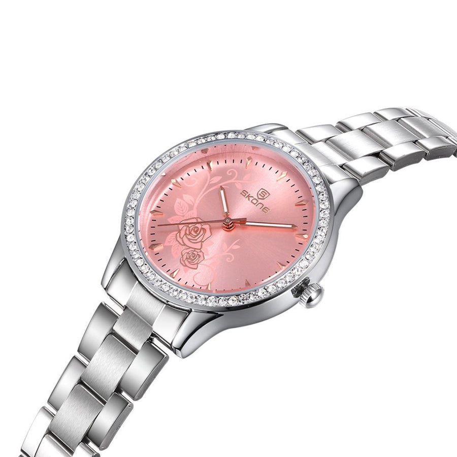 Stainless Steel Rose Quartz Watch