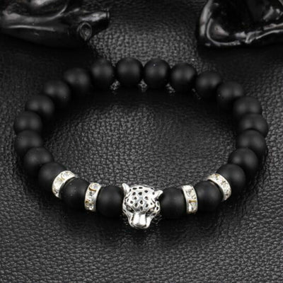 Gold/Silver Leopard Head Natural Stone Bracelet