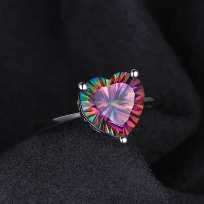 925 Sterling Silver Mystic Topaz Heart Ring (2.65 Ct)