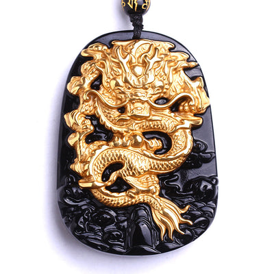 Gold Plated Obsidian Carved Dragon Pendant Necklace