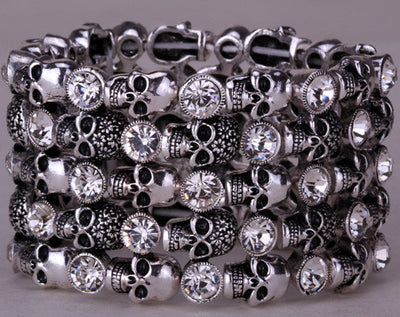 Crystal Skulls Stretch Bracelet