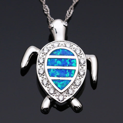 Silver & Opal Turtle Necklace