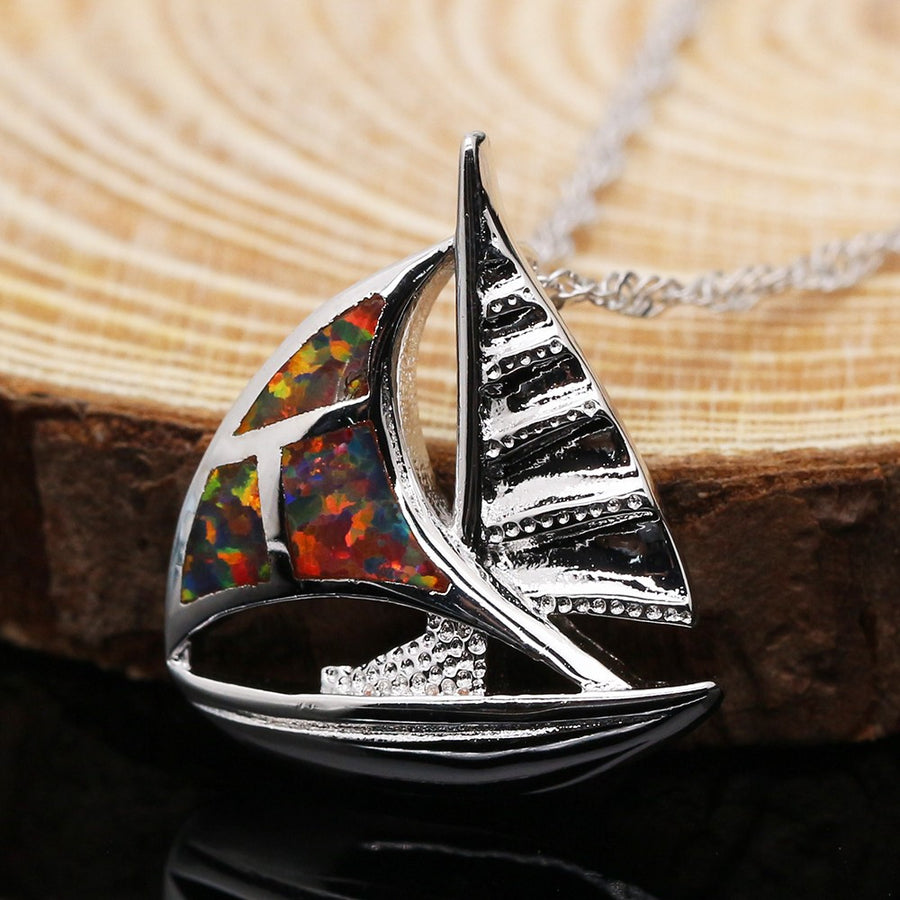 Opal Sailboat Pendant Necklace