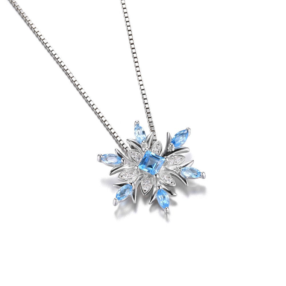 snowflake cz blue jf pendant necklace opal silver jewelry bling synthetic