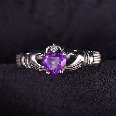 925 Sterling Silver Amethyst Irish Claddagh Ring