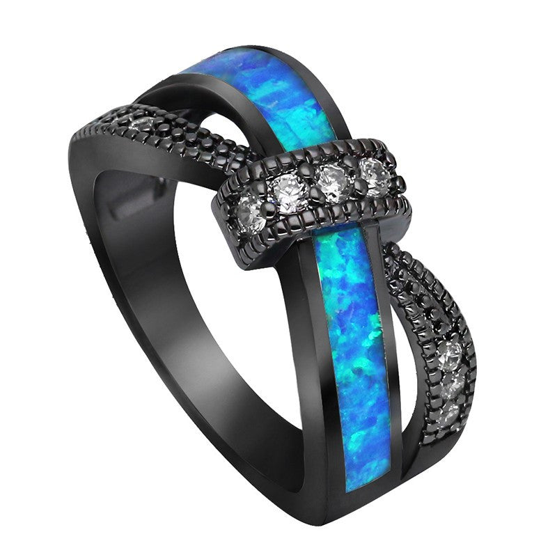 Black Fire Opal Knot Ring