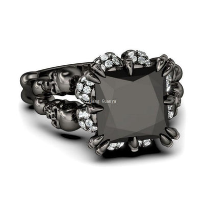 Rhodium Plated Skull Princess Ring
