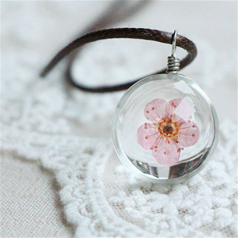 Glass Flower Locket Necklaces
