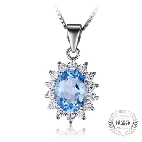 925 Sterling Silver Natural Blue Topaz Pendant (2.9ct)