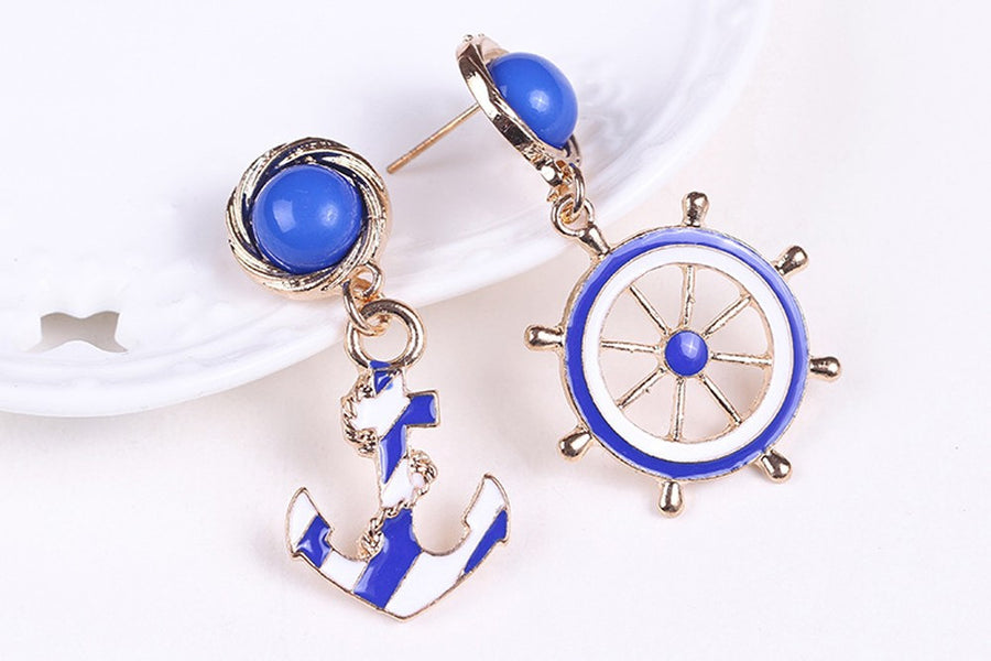 Blue Nautical Anchor & Wheel Earrings