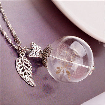 Butterfly Dandelion Glass Pendant Necklace
