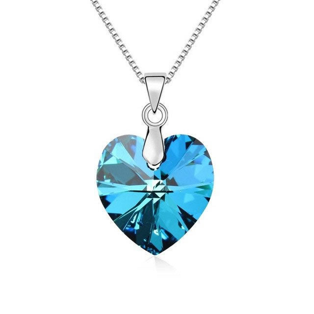 Classic Crystal Heart Pendant Necklace