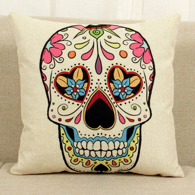 Mexican Sugar Skull Pillow Covers