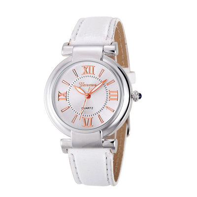 Roman Numerals Leather Band Wrist Watch