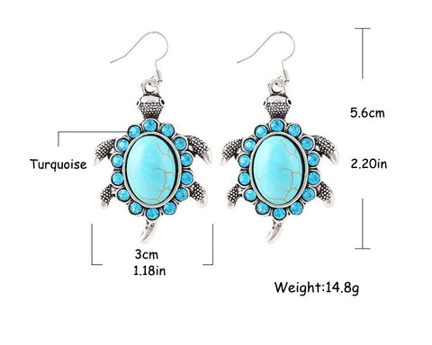 Turquoise and Crystal Turtle Earrings
