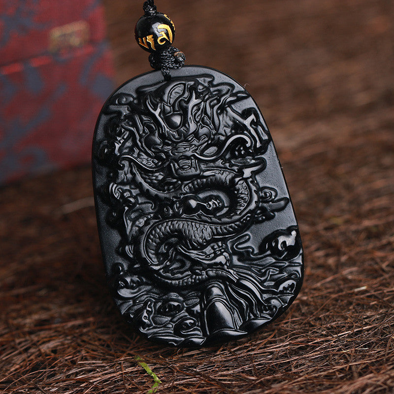 Obsidian Carved Dragon Pendant Necklace